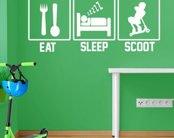 Eat, Sleep, Scoot Wall Sticker A101