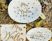 Mrs Wedding Ring Dish - personalized with last name and wedding date - gold or silver glitter - polkadots - wedding gift
