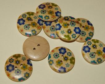 Wooden buttons 4 pcs floral blue / green (469)
