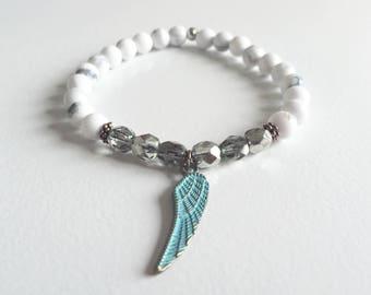 angel bracelet, healing gemstone bracelet, yoga bracelet, wrist mala, angel wing, CALM and PROTECTIVE, white bracelet, *stunning*