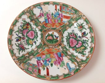 Hand Painted Chinese Porcelain Decorative Plate, Famille Rose, Rose Medallion, China