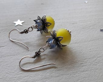 Blue and yellow Lampwork bead earrings
