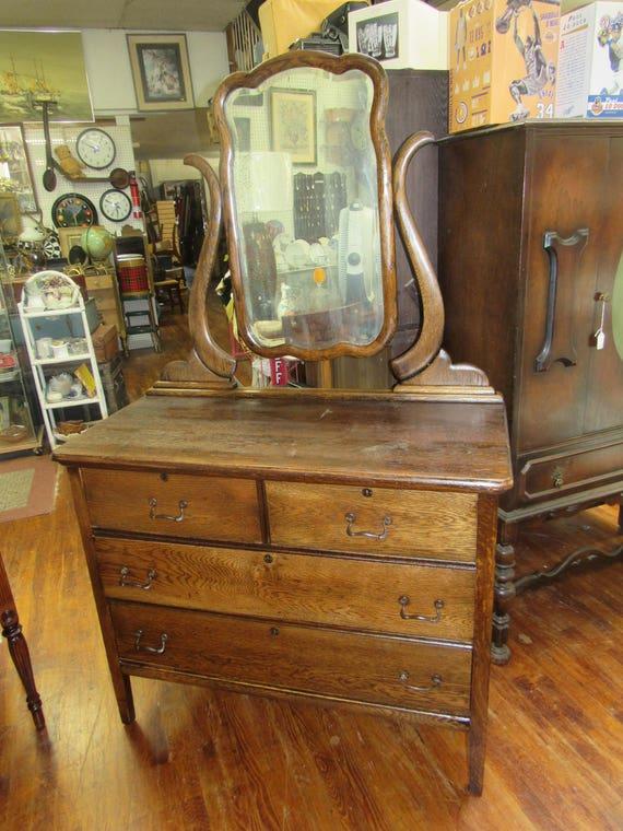 Tiger oak dresser, mirror and harp