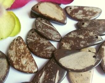 set of 12 semicircle coconut wood beads