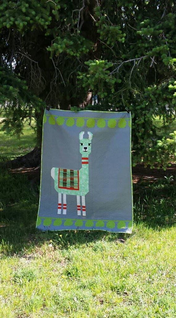 Modern Llama Baby Quilt Kit. Fabric And Pattern For Pieced Animal Design Favorite by Elizabeth Hartman.  Kids Will Love This Quilt For Years