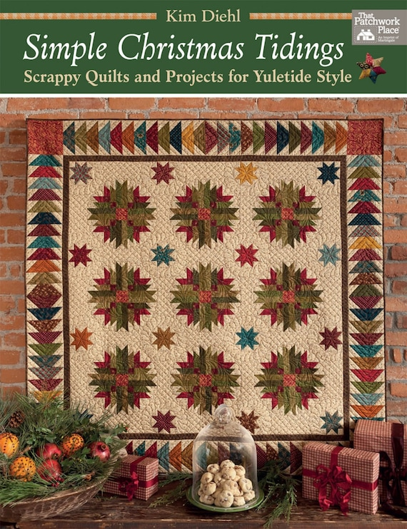 Kim Diehl Simple Christmas Tidings Quilting Book, Scrappy Quilts And Projects For Yuletide Charm, Snowmen Wall Hanging, Christmas Stockings