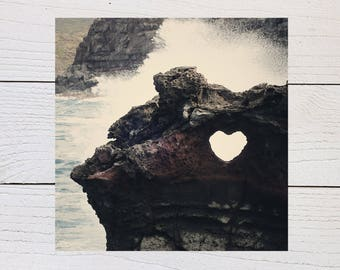 Heart Rock Art Print, Nakalele Blowhole, Maui Hawaii, Ocean Surf, Ocean Wave, Ocean Mist, Beach Photography, Tropical Art Print, Hawaiian