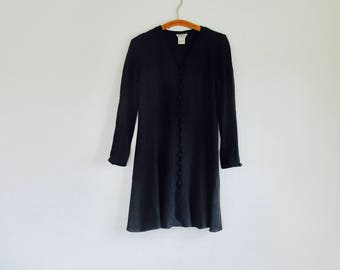 1990s button down black mini dress / boho minimalist duster jacket // Fits a size small