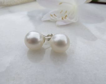 Freshwater Pearl Earrings, 10mm Large White Freshwater Pearl Sterling Silver Studs, June Birthstone Earrings, 30th Wedding Anniversary Posts