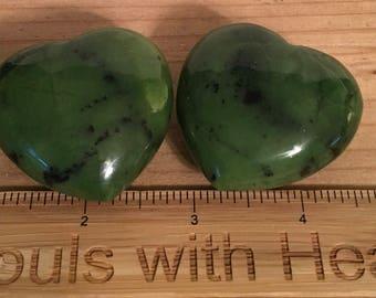 Jade Gemstone Heart, Stone of Luck, 40mm, Spiritual Stone, Healing Stone, Healing Crystal, Chakra