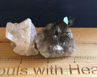 Clear Quartz Crystal, Smoky Quartz Crystal, Pair of 2 small crystals,Healing Crystals and Stones