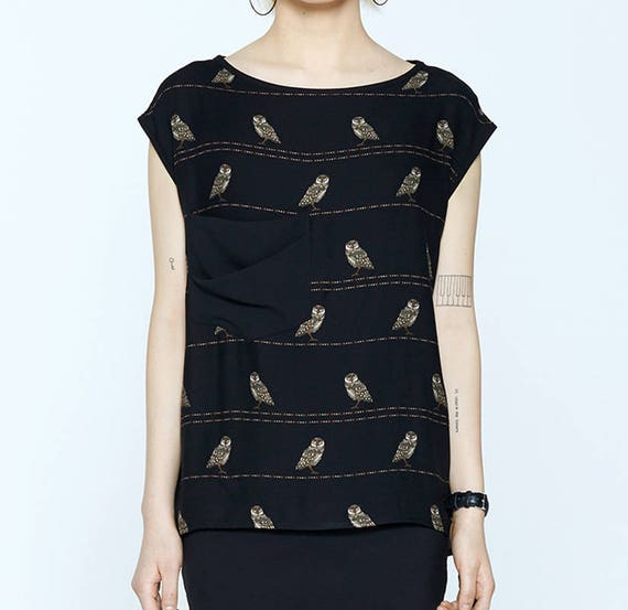 BLOODY MARY - prints top, short sleeves with oversize pocket for womens - black with owls birds print