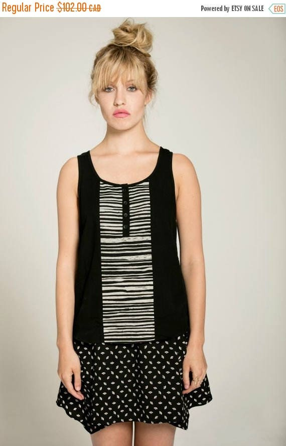 SOLDE SALTY SWEET - indented top, minimalist cami, camisole  for women - black with striped silkscreen