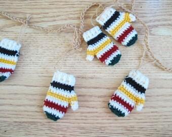 Hudson's Bay Blanket inspired mini mitten garland / HBC inspired striped blanket / striped mitten garland