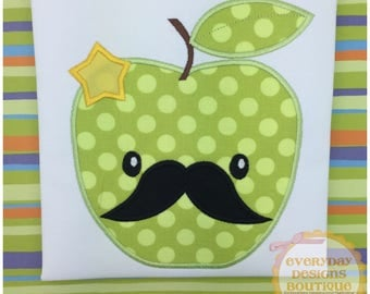 Apple with Mustache Machine Embroidery Applique Design