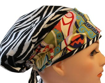Scrub Hat Cap Chemo Bad Hair Day Hat  European BOHO Banded Pixie Tie Back Black and White Zebra with Retro Blue Band 2nd Item Ships FREE