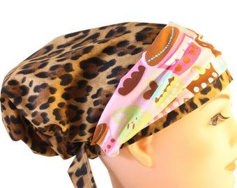 Scrub Hat Cap Chemo Bad Hair Day Hat  European BOHO Banded Pixie Tie Back Leopard Animal Print Pink Cupcake Band 2nd Item Ships FREE