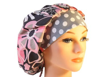 Medical Scrub Cap Surgical Hat Tie Back Bouffant Pink Grey Flower Shower Dots 2nd Item Ships FREE