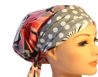 Scrub Hat Cap Chemo Bad Hair Day Hat  European BOHO Banded Pixie Tie Back Pink Floral  Grey Dot Band 2nd Item Ships FREE