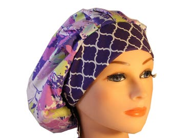 Scrub Cap Surgical Hat Chef   Dentist Hat Tie Back Bouffant Lilac Lavender Pink Mint Yellow Floral 2nd Item Ships FREE