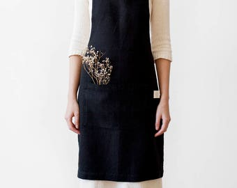 Black Stone Washed Linen Apron