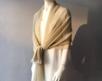 Gold Wedding Shawl, Gold Bridal Shaw, Bridesmaid Shawl, Bridal Scarf, Sheeny Scarf, Evening Wrap, Gift for Her