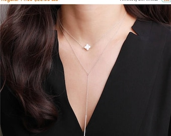 ON SALE Sideway alhambra ivory mother of pearl clover - gold or silver chain - every elegant jewelry