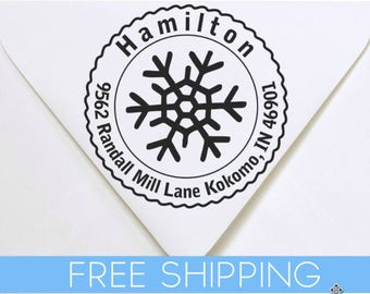 Snow Flake Custom Return Address Stamp - Self Inking. Personalized rubber stamp with lines of text