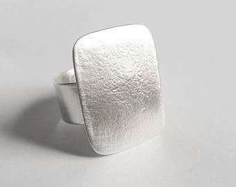 Silver rectangular ring