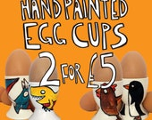 Egg Cups - Handpainted - Mega Offer - Christmas Gift - Dinosaur - Zombie - Bees - Gift For Him - Gift For Her - Secret Santa