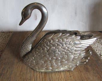 Vintage Godinger Silver Plated Swan Napkin Holder 1988.