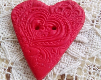 Red heart button, polymer clay button, handmade button, unique button, heart shaped button, crafts, sewing, knitting, scrapbooking, red