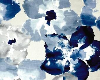 Bold Indigo Floral Fabric Curtains,  Navy Blue Curtains, Curtain, Cafe Curtain, Indigo Decor, Modern Farmhouse