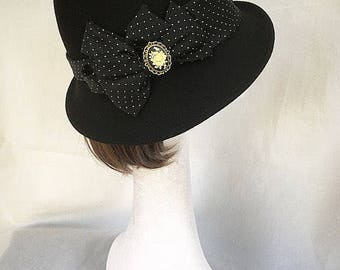 Navy trilby hat, Navy hat, Vintage hat, Victorian accessory, 1940s trilby, blue hat