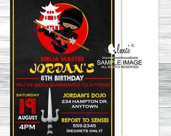 African American Ninja Birthday Invitation, Warrior Birthday Invitation- Digital File or Printed