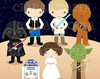 50% OFF SALE Space Wars Digital Clipart / Star wars Digital Clip art For Personal and Commercial Use / Instant Download