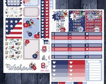 Independence Day Kit for Erin Condren Life Planner Vertical Layout