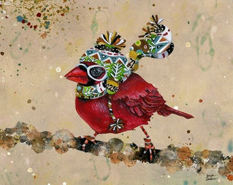 Cardinal Blaze. Taupe Background