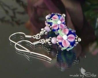 Handmade lampwork bead earrings   |  Sterling Silver |  floral chintz  |   made by Silke |   OOAK  | SRA