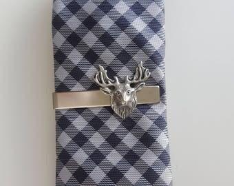 Silver Deer Elk Caribou Tie Clip, Tie Bar, Stag, Outdoorsman, Rustic, Reindeer, Woodland, Nature, Forest Wedding Groom, Gifts for Men