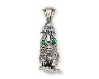 Frog Pendant Jewelry Sterling Silver Handmade Frog Pendant FG26-XP