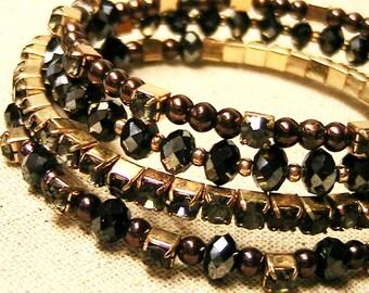 Bracelet, Vintage Wrap Bracelet, Dark Rhinestone and Bead Wrap Bracelet