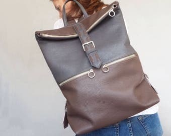 Leather backpack. Leather rucksack. Laptop bag leather. Gray brown leather  backpack women.  Foldover backpack. Women backpack.