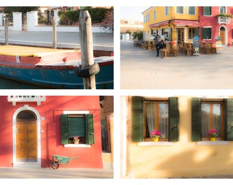 Venice Photos, Set of Four, Colorful Venice Scenes, Italy Scenery, Terra Cotta Houses, Burano, Flower Boxes