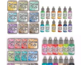 Tim Holtz Distress Oxide Ink Pads & Reinkers BUNDLE 3x3 24 Colors Set 48 pieces  1.c231