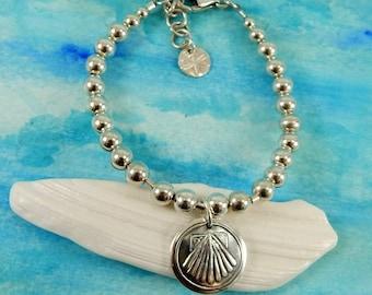 Scallop Shell Bracelet, Sterling Silver Beaded Bracelet (6mm), Inspirational Jewelry, Charm Bracelet, Camino de Santiago, Journey Bracelet