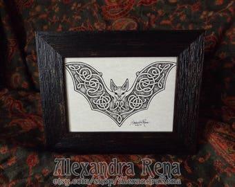 Celtic Knotwork Bat Framed Art Print