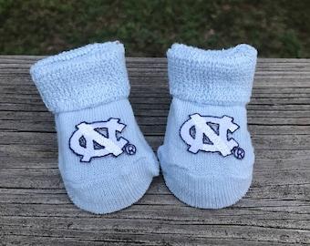 North Carolina baby booties go Tar Heels.