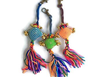 Diamond Pom Pom Zipper Pull / Key Chain Fair Trade - Thailand