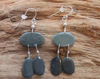 Lake Superior rock and sterling silver earrings, charcoal gray dangle earrings, beach stone earrings, Christmas, stocking stuffer